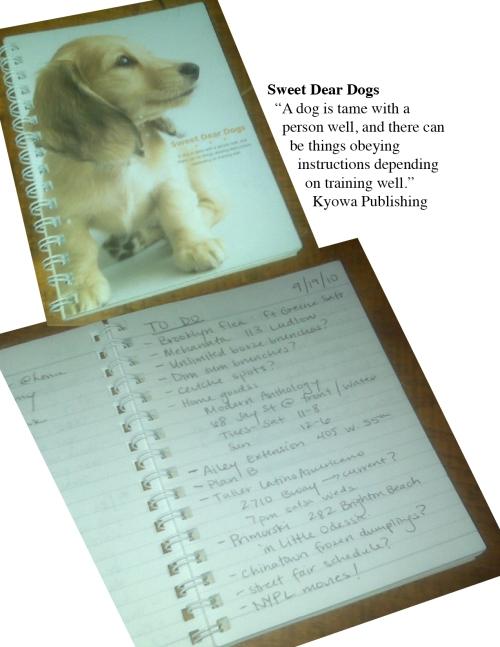 Japanese notebook, dogs, Tara and Karina Go Out