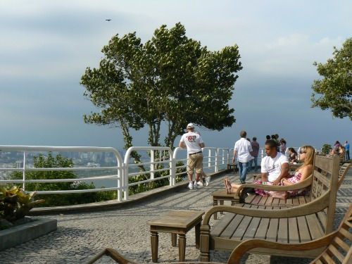 Resting on a bench atop Sugarloaf in Rio de Janeiro