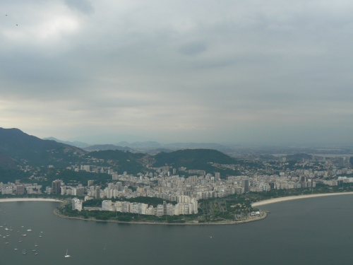 Looking to the right: The view from atop Sugarloaf in Rio de Janeiro