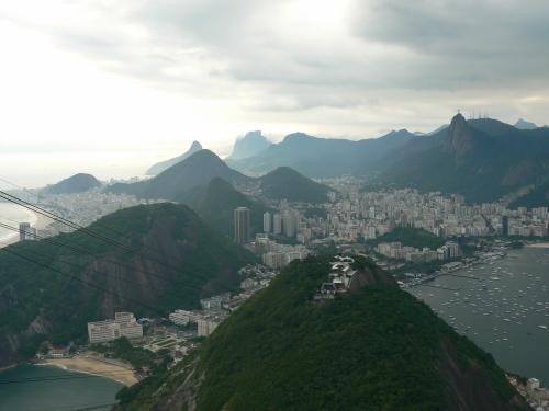 On the gondola ascending Sugarloaf in Rio de Janeiro